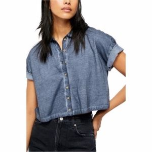 Free People Weekend Rush Button Down Collared Top
